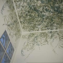Dettaglio rullo a soffitto foliage - toni del verde