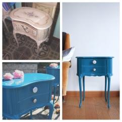 Comodino blue '70s - Prima e dopo
