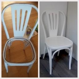 Sedia restaurata e rinnovata - prima e dopo